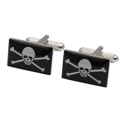 Jolly Roger Flag Cufflinks - Skull and Cross Bones Cufflinks