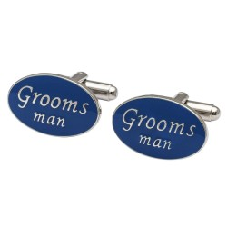 Oval Blue - Grooms Man Cufflinks