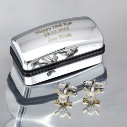 Personalised Golf Cufflinks Gift Set