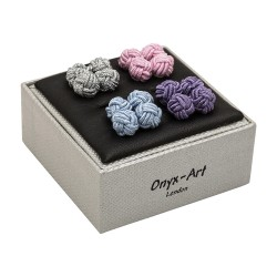 Silk Knot Cufflinks Boxed Gift Set - By Onyx-Art London