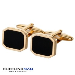 Black Onyx Gold plated- Corner Edition Cufflinks