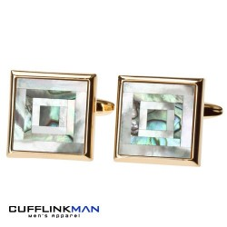 Mother of Pearl and Paua shell Cufflinks Gold edge