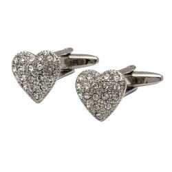 Crystal Heart Cufflinks
