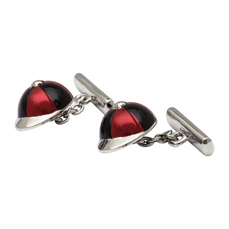 Black and Red Jockey's Cap Chain-Link Cufflinks