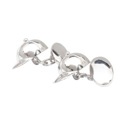 Sterling Silver Jockey's Cap Chain-Link Cufflinks