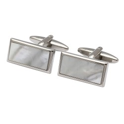 Mother of Pearl Rectangle - Silver edge Cufflinks