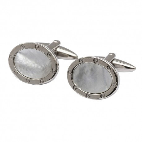 Mother of Pearl Port Hole Cufflinks - Oval Edition