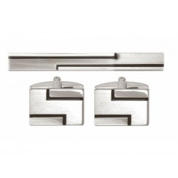 Geometrics Cufflinks and Tie Pin Set - Tie Clip - Tie Bar - Tie Slide
