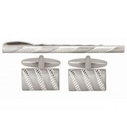 Newmarket Cufflinks & Tie Pin Set - Tie Clip - Tie Bar - Tie Slide