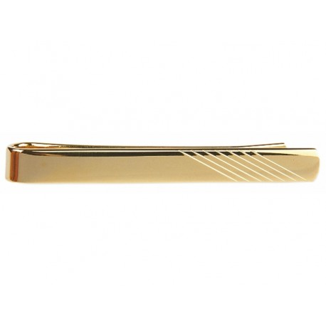 Gold Plated Tie Clip Diagonal Lines