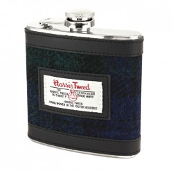 Harris Tweed Hip Flask Black Watch Tartan