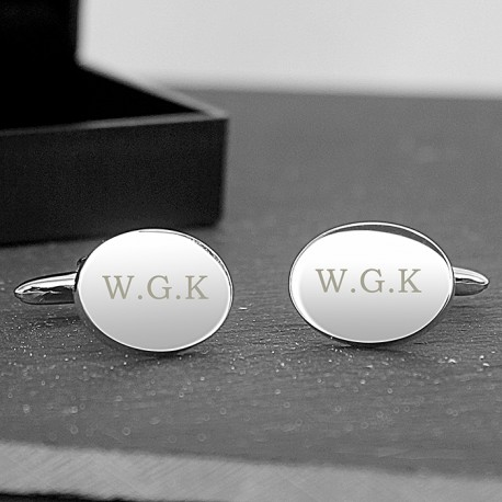 Personalised Initial Cufflinks - Oval Engraved Cufflinks