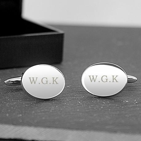 Personalised Initial Cufflinks - Oval Engraved Cufflinks