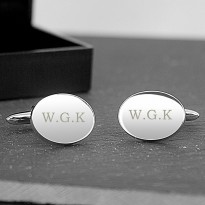 Initial Cufflinks Personalised - Oval Engraved Cufflinks