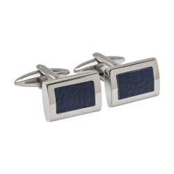 Leather Inlay Cufflinks - Blue