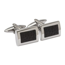 Leather Inlay Designer Cufflinks - Black