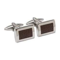 Leather Inlay Designer Cufflinks - Brown