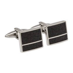 Black Leather Designer Cufflinks