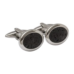 Oval Lava Rock - Designer Cufflinks