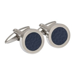 Blue Round Leather Cufflinks