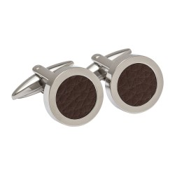 Brown Round Leather Cufflinks