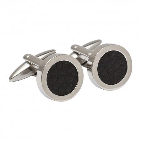 Black Round Leather Cufflinks
