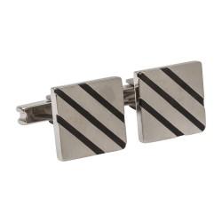 Square Titanium Designer Cufflinks with Black Enamel Stripe