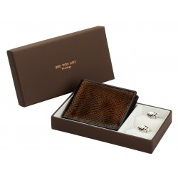 Bruge Silver Cufflinks & Leather Wallet Boxed Gift Set