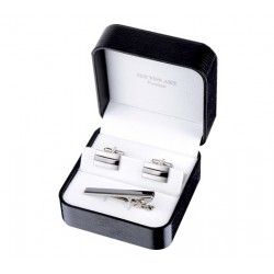 Gunmetal Cufflinks & Tie Bar Boxed Gift Set