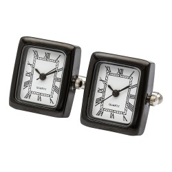 Black Clock Cufflinks (Working Clock)
