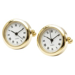 Round Clock Cufflinks (Working Clock)