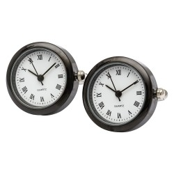 Black Round Clock Cufflinks (Working Clock)