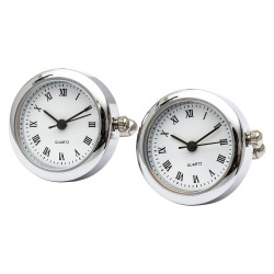 Polished Rhodium Round Clock Cufflinks (Working Clock)
