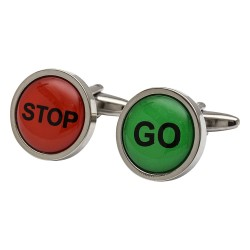STOP GO Traffic Sign Cufflinks