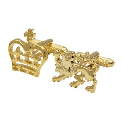 Lion and Crown Rhodium Cufflinks Gold Edition