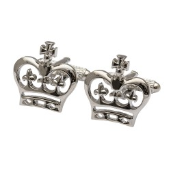 Royal Crowns Cufflinks Rhodium Cufflinks