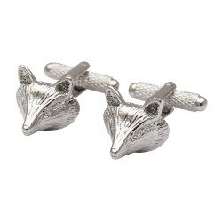 Silver Fox Head Cufflinks