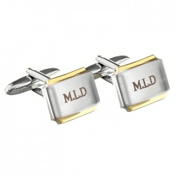 Gold Plated Initial Engraved Cufflinks - Personalised Cufflinks
