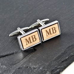 Initial Cufflinks Unusual Wood Cufflinks- Personalised Engraved Cufflinks