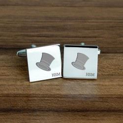 Engraved Top Hat Wedding Cufflinks