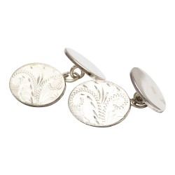 Classic Sterling Silver 925 Double Oval Chain Link Cufflinks