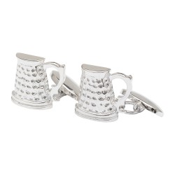 Beer Tankard Cufflinks - Silver Plated- Chain Link