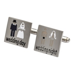 Bride and Groom - Wedding Day and Wedding Night Cufflinks