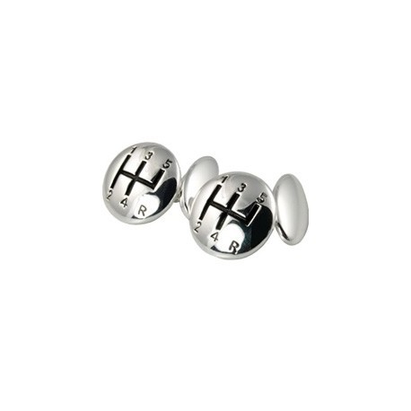 5 Gear Silver Plated Cufflinks