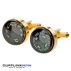 Gold Compass and Thermometer Cufflinks - Real Working Item