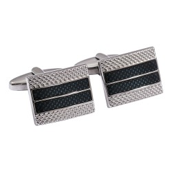 Jos Von Arx - Silver and Blue Striped Cufflinks
