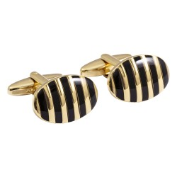 Jos Von Arx - Designer Gold and Black Stripes Cufflinks