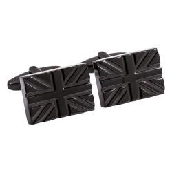 Jos Von Arx - Metallic Black Union Jack Designer Modern Cufflinks