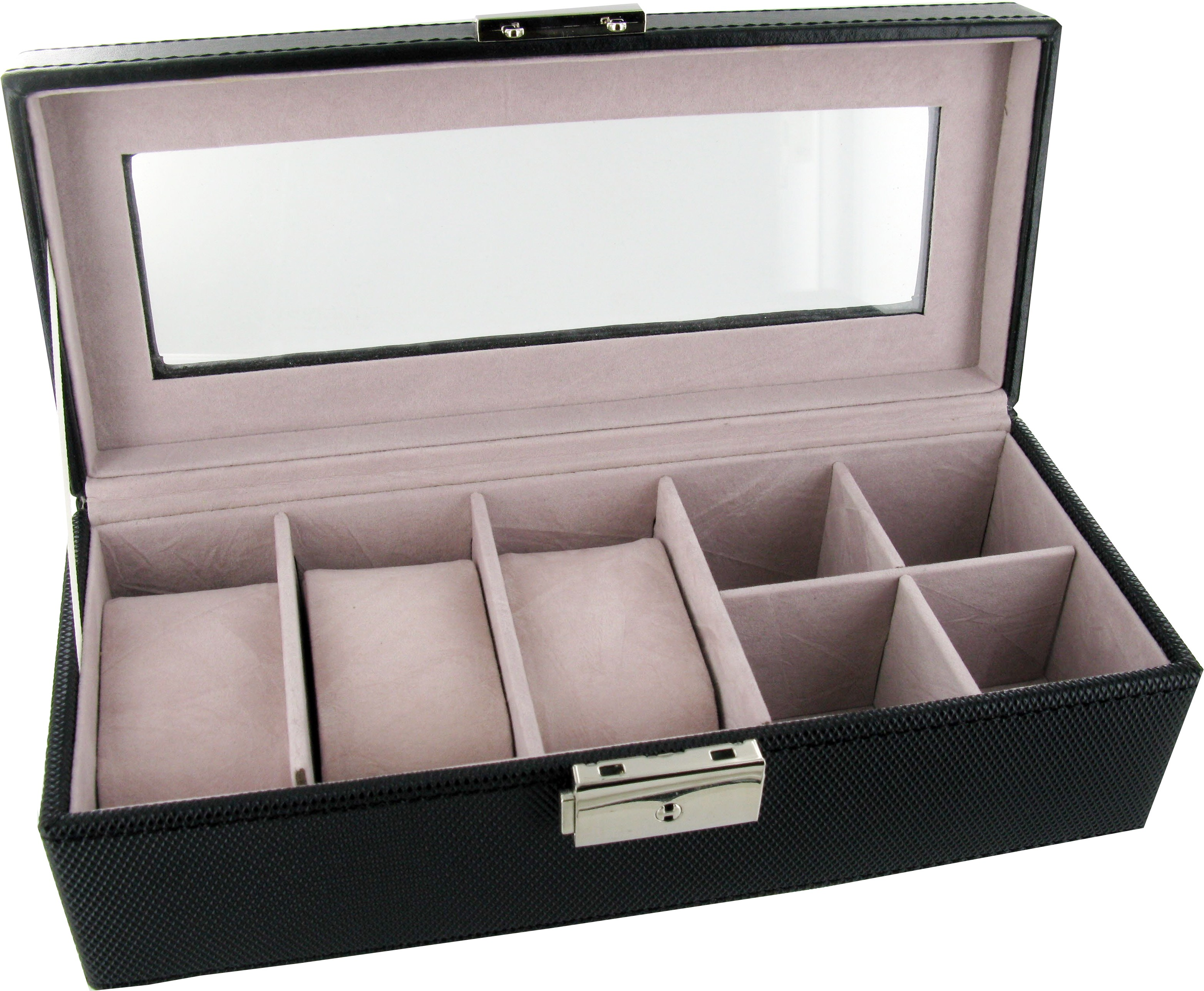 Black Cufflinks And Watch Travel Box Luxury Mens Accessory Case