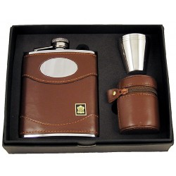 6oz Brown Leather flask with engraving plate and cups
